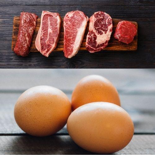 Carne y huevos que tienen grasas omega-6