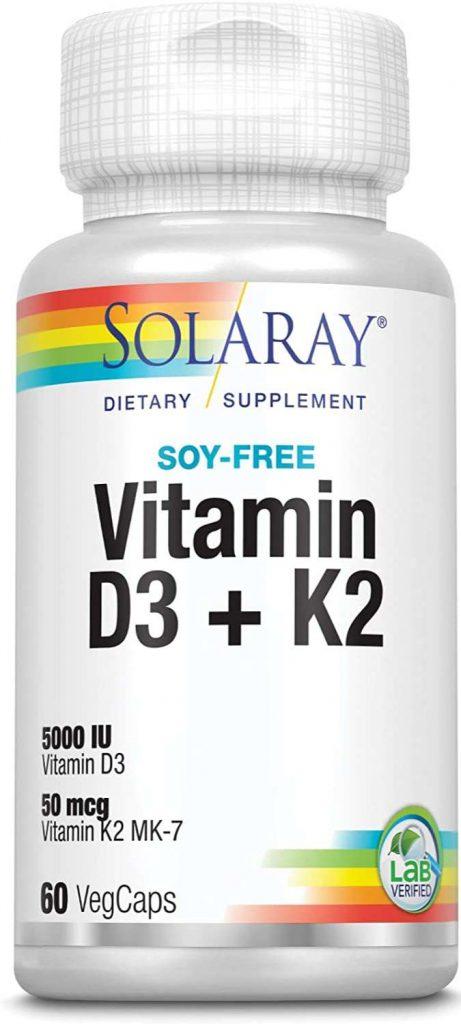 Envase de vitamina D+K2 de la marca Solaray